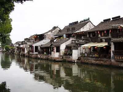 Homes and shops on the canal